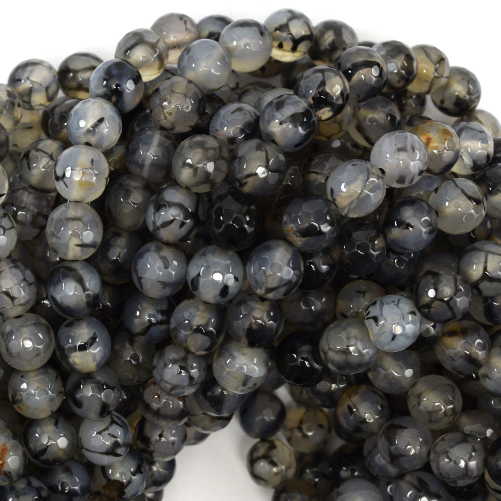 "Faceted Black Dragon Vein Agate Round Beads 14.5"" Strand 4mm 6mm 8mm 10mm 12mm"