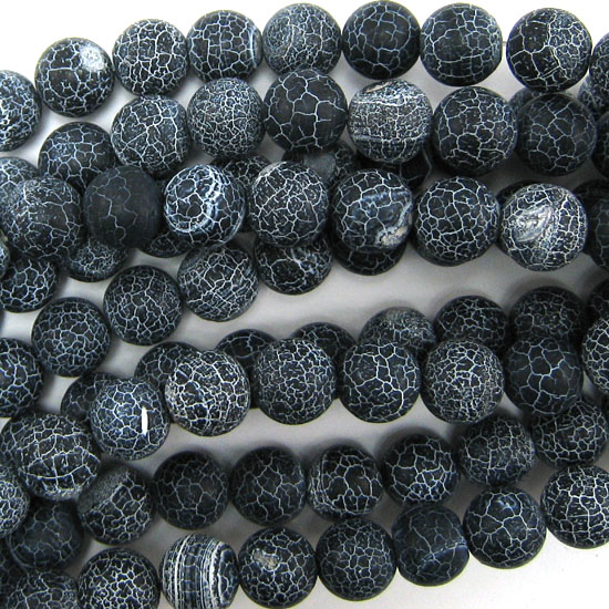 Matte-Black-Fire-Agate-Round-Beads-Gemstone-15-034-Strand-6mm-8mm-10mm-12mm-14mm