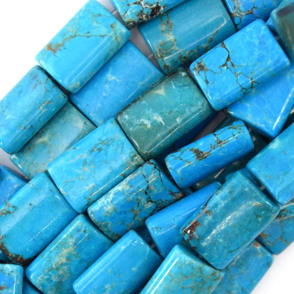 "25mm Azul Turquesa Rectángulo Almohada Granos 16/"" Strand"