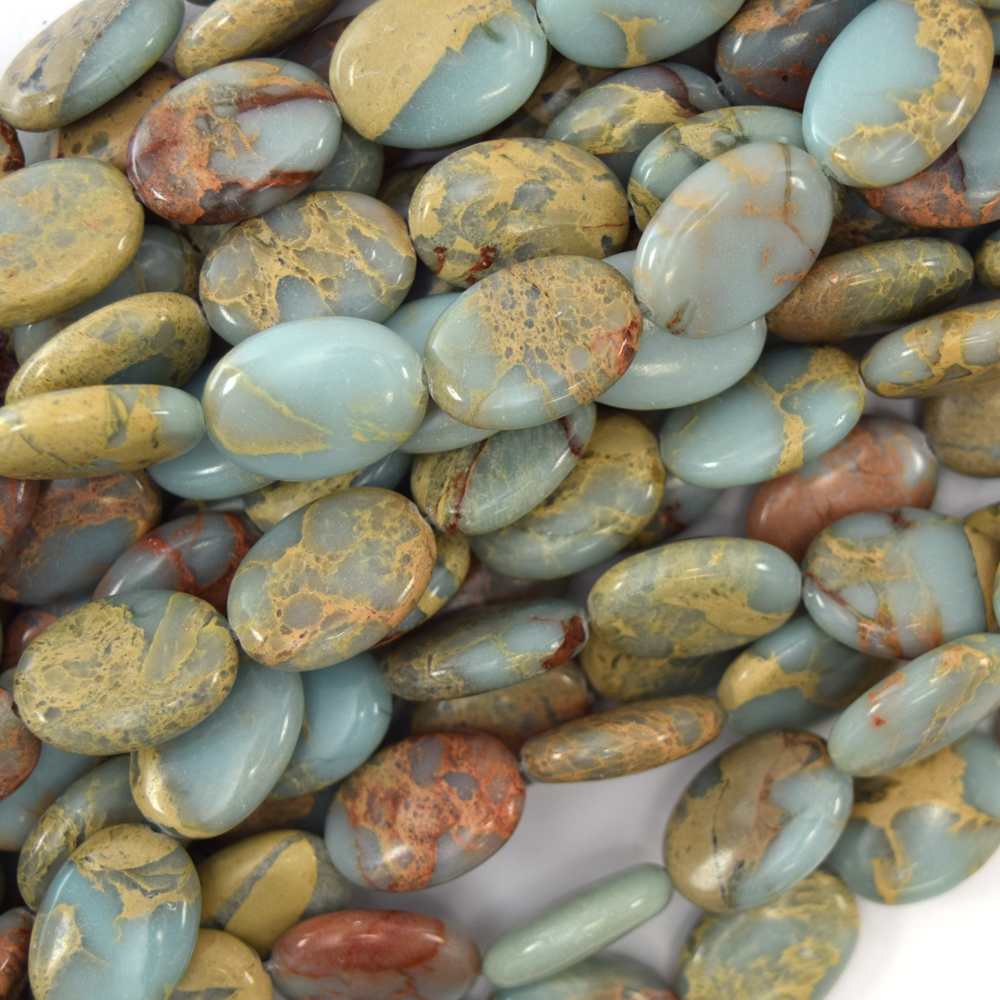 """18mm brown blue turquoise flat oval beads 15.5/"""" strand"""